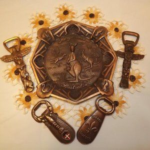 Lot of Copper Bottle Openers and Ashtray